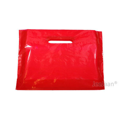 """100 Red Plastic Carrier Bags 22""""x18""""+3"""" Gift Party Shop Carry Patch Handle"""
