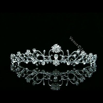 Floral Bridal Rhinestone Crystal Prom Wedding Crown Tiara 8576