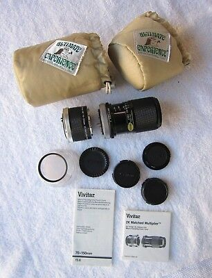 Mint Vivitar 70-150mm 3.8 Zoom Lens, 2X Multiplier, Assessories, Canon FD Mount