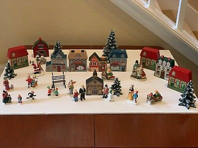 Christmas Town Houses, Ceramic & Porcelain People, and Trees - Holiday Display
