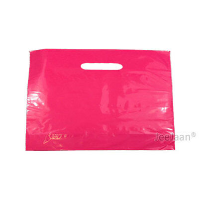 """100 Dark Pink Plastic Carrier Bags 22""""x18""""+3"""" Gift Party Carry Shop Patch Handle"""