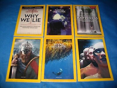 Lot of 6 National Geographic Magazines SIX Issues year 2017 Nice Condition