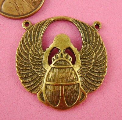 Antique Brass 2 Ringed Winged Scarab - 1 Pc