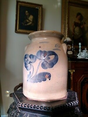 Antique Stoneware Crock 19c Salt Glaze LYONS Signed Cobalt Decoration 2 Gal AAFA