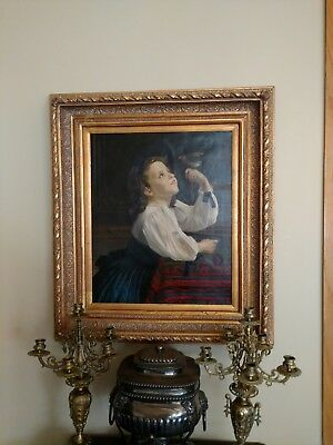 ANTIQUE OIL PAINTING ON CANVAS Signed F BRUNERY Italian Painting of Girl