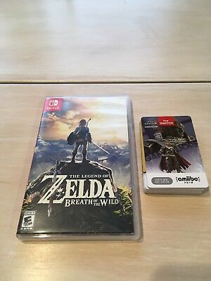 Legend of Zelda: Breath of the Wild (Nintendo Switch, 2017) + Amiibo Zelda Cards