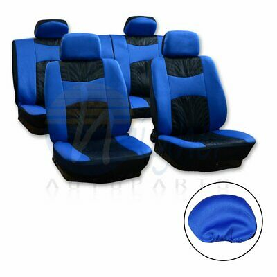 10pcs New Black Blue Auto Car Seat Covers Universal Double Embossed cloth