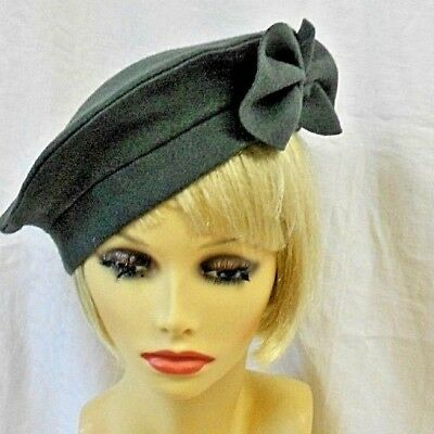 "VINTAGE INSPIRED 1940's 1950's STYLE SLATE GREY FELT BERET HAT WW2 XL 24 ""SWING"