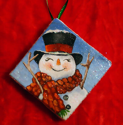 HANDPAINTED Christmas Ornament Holiday Snowman top hat Snow