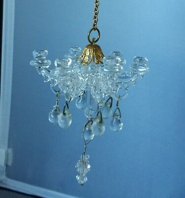 """Glass Chandelier 6 Candle Hanging Dollhouse Mini 3"""" Tall x 2"""" Wide w/o Chain"""