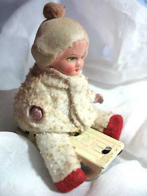 Antique German Snowbaby COTTON BATTING DOLL WIND UP TIN SLED TOY w/ KEY  US Zone
