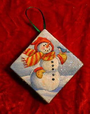 HANDPAINTED Christmas Ornament Holiday Snowman Blue Bird Holiday Season Snow