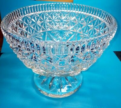 large lead crystal/cut glass bowl with a foot - 24cm diameter