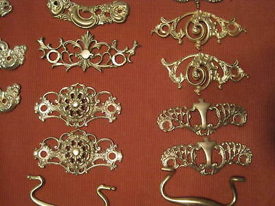 5 lbs. of Vintage Brass Ornate Drawer Pull Handles - Mixed Lot Beautiful Pieces