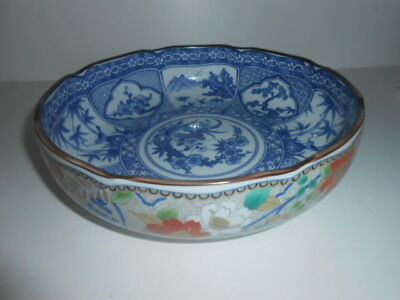 Blue and white Interior Bowl Oriental Porcelain Amazing Painted Item / NEW