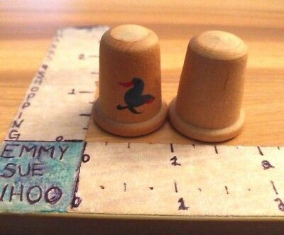 Vintage Wood Thimble Set of 2 Two One Blank One w Bird Toucan Sewing Craft Gift