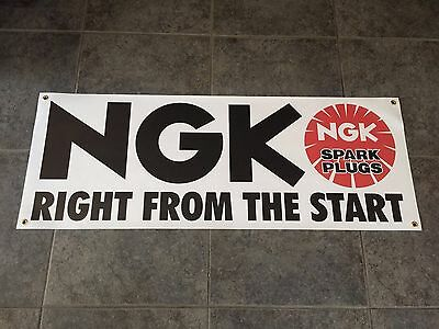 NGK Spark Plugs Right From The Start banner sign shop garage racing JDM ignition