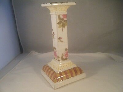 """Vintage Mackenzie Childs Candle Holder 10.5"""" Rose and stripe Pattern"""