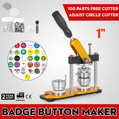 25mm(1'') Button Badge Maker Press Machine 100Pcs Pin Buttons Key Chains Rotate