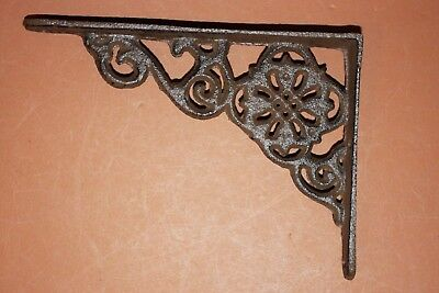 "(2) Antique-style cast iron shelf brackets fits 8 inch shelf board, 6 1/2"", B-11"