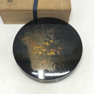 H917: High-class Japanese lacquered circular ink stone case with fantastic MAKIE