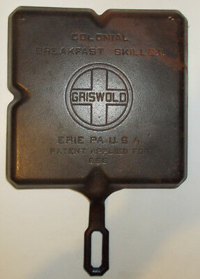 Griswold Cast Iron Pan 666 B Vintage Colonial Breakfast Skillet Large Logo USA