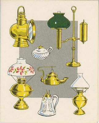 Vintage Card Paper Print Of Antique Oil Lamps & 1 Garden Green House Flower Card