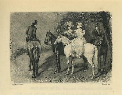 Antique Victorian Woman Black White Horses Man Equestrian Miniature Tiny Print