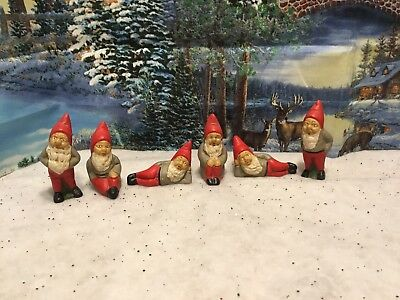 Vintage Ceramic Christmas Elf Pixie Gnomes Figurine Lot of  6 Hand Painted