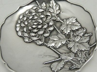 Japanese Sterling Silver Dish - Finely Detailed Chrysanthemums