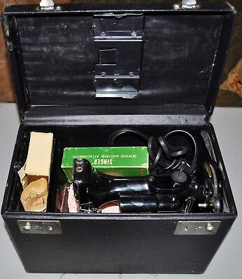 Vintage 1950 Singer Feather Weight Sewing Machine 221J Box Extra Attachments Fn