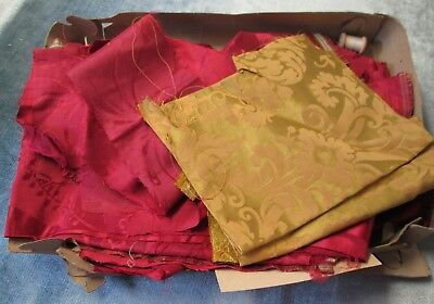 Vintage Rose Silk Damask Fabric Fragments Part of Church Lot