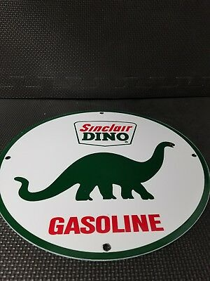 Vintage Sinclair Gasoline Dino Porcelain Metal Sign 11 3/4 Gas Oil Pump Plate Nr