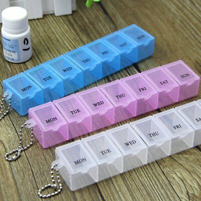 7 Day Pill Box Medicine Storage weekly Tablet Organizer Carrier RP