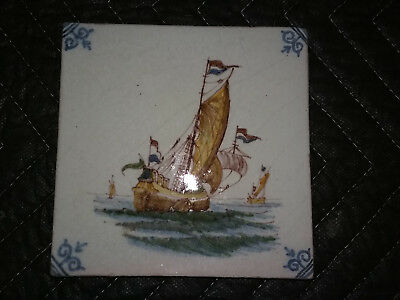 Antique Dutch Blue Delft Tile Sailing Tall Ship Navy Boat Sea 5 1/4 Inch