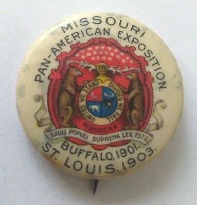 1903 ST LOUIS WORLDS FAIR PAN AMERICAN EXPOSITION 1901 PIN pinback