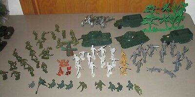 Vintage Lot Marx World War II Battleground D-Day Landing Tanks, Howitzer,Germans