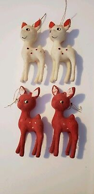 4 Vintage Flocked Reindeer Red And White Christmas Ornaments