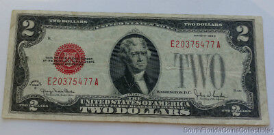 1928-G $2 Two Dollar Red Seal Bill Fine Condition
