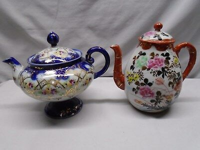 Two Antique Japanese Kutani and Floral Teapots