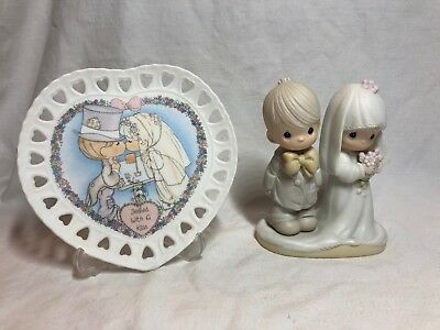 Precious Moments #E-3114 Wedding Couple & Sealed with A Kiss Plate