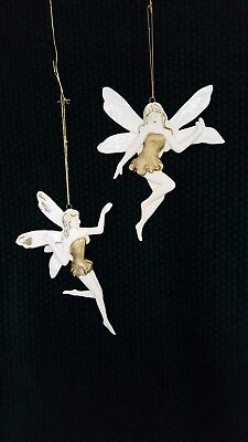 Vintage Fairy Bisque Porcelain Christmas Tree Ornaments Hand Painted Gold Lot 2