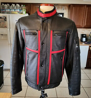 Schott Leather Cafe Style Motorcycle Jacket Men's EX+ Red Black