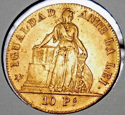 1853 Chile 10 Pesos .900 Gold Weight 15.2 Grams Mintage 206.000 Only RARE