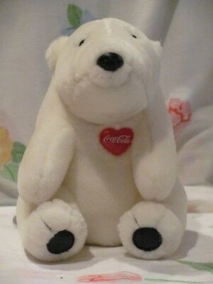 Original Plush Coca Cola Polar Bear Stuffed 1995 Red Heart 7""