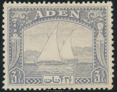1937 Aden 3½a grey blue Dhow mint, SG 7