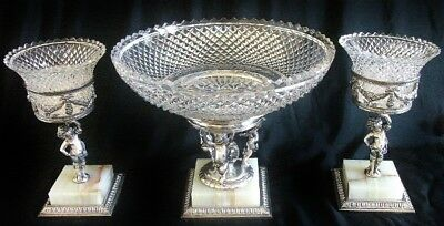 Fine Pairpoint Silver Plate & Cut Glass Cherubs Centerpiece & Paired Tazza Set