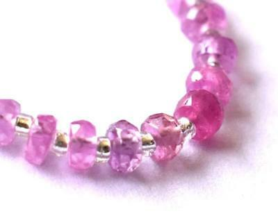 Pink Sapphire Beads Faceted Rondelle 3 - 3.5 Mm Natural Gemstone. 19 Pcs #a743