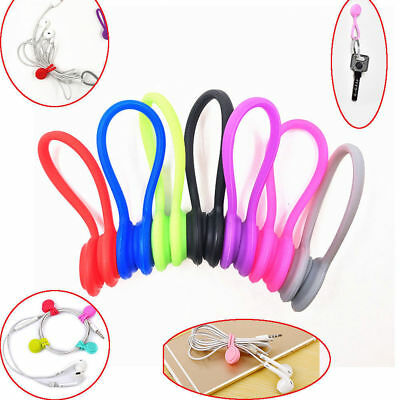 8pcs Magnetic Cable Clip Silicone USB ClipS Storage Holder Headset Cord F3V4X