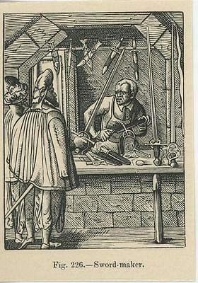 Antique Medieval Sabre Sword Maker Worker Workshop Tools Sharpen Miniature Print